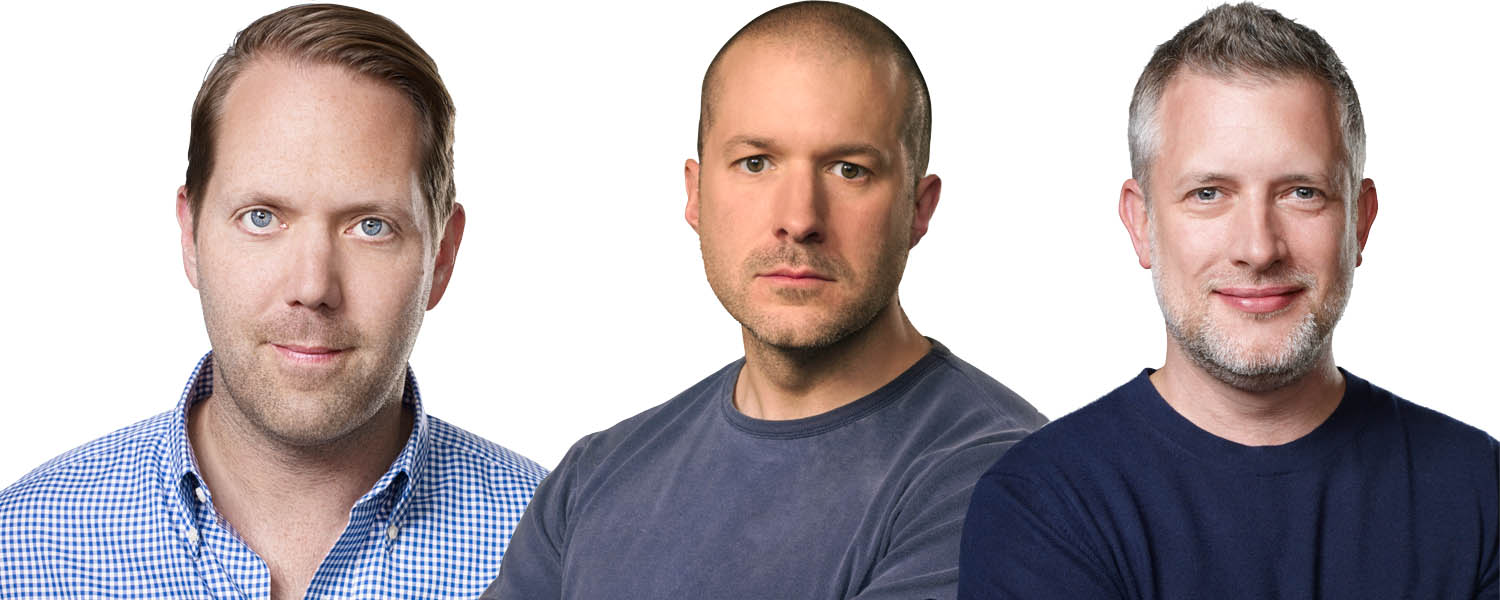 Alan Dye (VP, User Interface Design), Jony Ive (Chief Design Officer) and Richard Howarth (VP, Industrial Design)